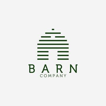 Wooden Barn Line Art Logo Vector Design Illustration, Barn House Icon, Agriculture, Livestock Company