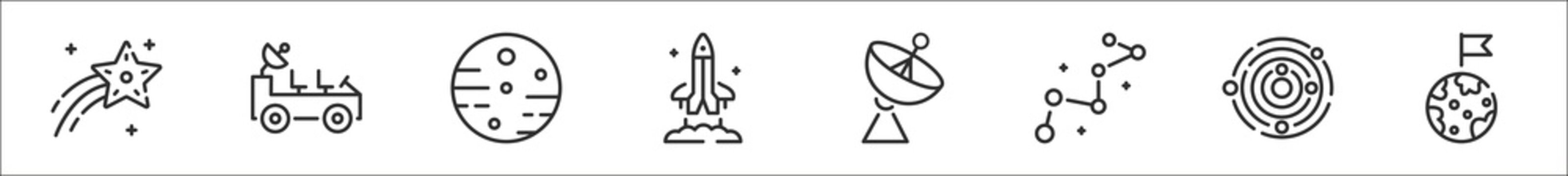 set of 8 space thin outline icons such as shooting star, moon rover, mars, space shuttle, satellite dish, constellation, galaxy, earth