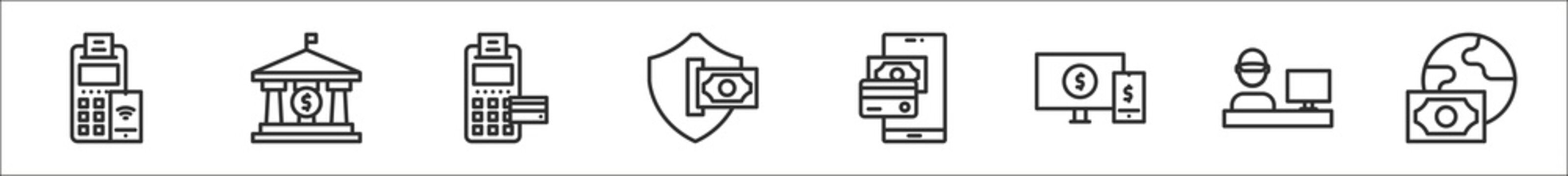 set of 8 payment and bank thin outline icons such as edc, bank, edc, secure payment, online payment, online cashier, method