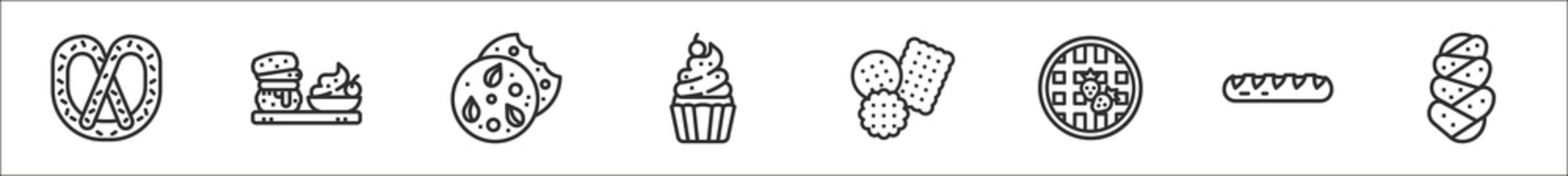 set of 8 august bakery thin outline icons such as pretzel, scone, cookie, cupcake, biscuit, waffles, baguette, challah
