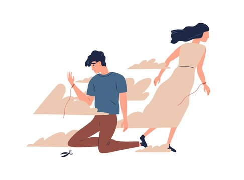 Mother leaving grown up son. Unhappy teen lost emotional connection with parent. Couple breakup, family divorce and relationship problem concept. Vector illustration in flat cartoon style