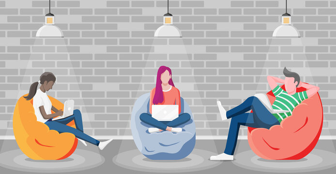 Happy male, female character working at laptop. Business people sitting in bean bag armchair. Group of freelancer in coworking space interior. Shared workplace loft, beanbag. Flat vector illustration