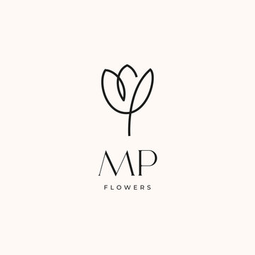 MP initial tulip flower creative logo design template