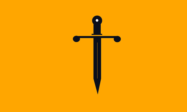 T sword vector logo for any brand with black sword and yellow background