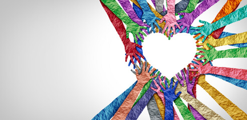 Fototapeta United diversity and unity partnership as heart hands in a group of diverse people connected together shaped as a support symbol expressing the feeling of teamwork and togetherness obraz