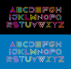Two options of Decorative Font vector illustration. Colored line art typeface design isolated on a black and on a light blue backgrounds.