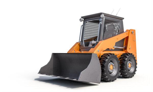 small bulldozer on the white background.