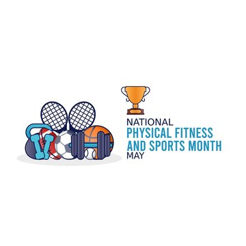 National Physical Fitness and Sports Month Vector Illustration. Suitable for greeting card poster and banner.