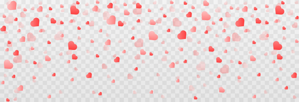 Vector confetti made from hearts. Hearts fall from the sky on an isolated transparent background. Heart, confetti png. Valentine's Day.