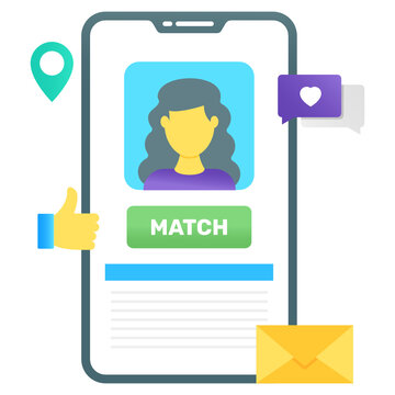 Flat gradient conceptual icon of online dating, female matchmaker inside mobile
