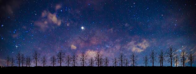 Panorama blue night sky milky way and star on dark background.Universe filled, nebula and galaxy...