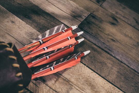 A Vintage Quiver of Natural Fletched Arrows