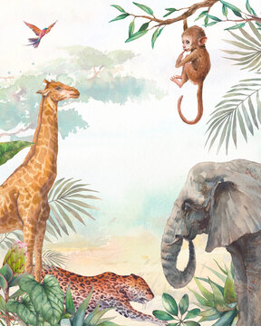 Tropical card background. Illustration with elephant, chimp, leopard and giraffe. Safari animal and jungle flora on watercolor background.
