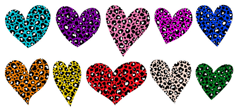 Hearts animal print. Leopard heart vector illustration