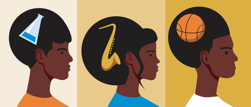 African people head isolated, flat vector stock illustration as concept of black history month, achievements of afro people with saxophone, basketball ball
