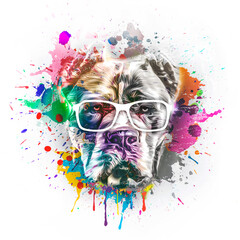 abstract colored dog muzzle in eyeglasses