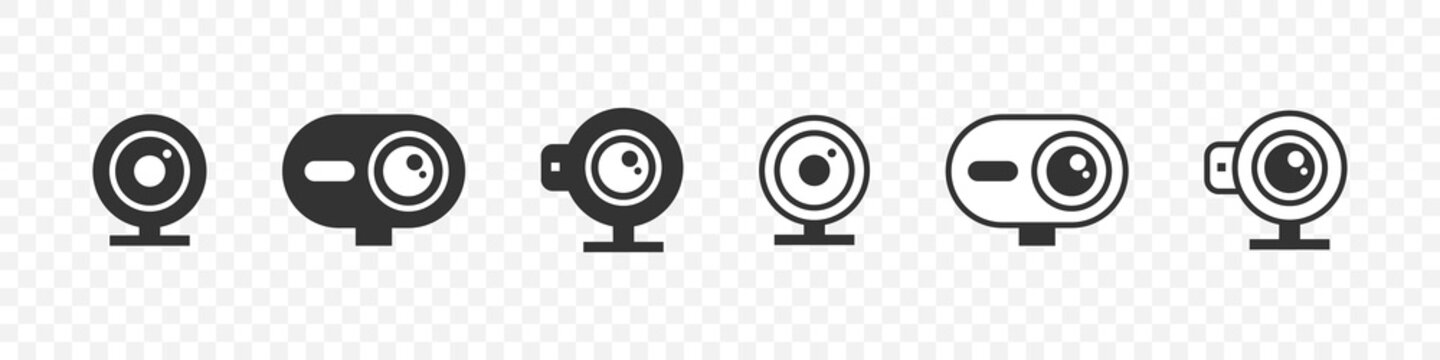 Web camera devices concept. Webcam icons. Electronic gadgets. Trendy flat style. Vector illustration