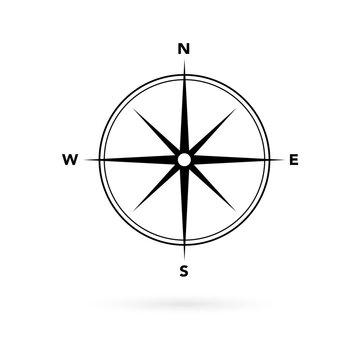 Navigation symbol, magnetic compass icon.