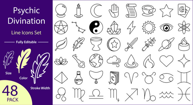 Psychic Divination Icons Set - Tarot, Astrology, and Magic Icons