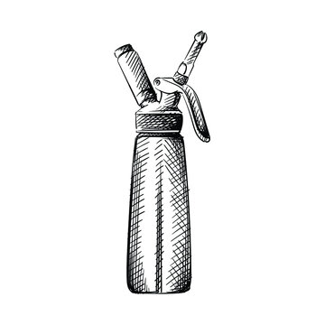 Hand drawn sketch of Cream siphon (dispenser, creamer) on a white background. Black and white sketch of cream dispenser. Bar inventory