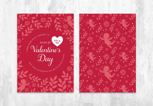 Elegant Valentines Day Card Layout Invite with Red Floral Background