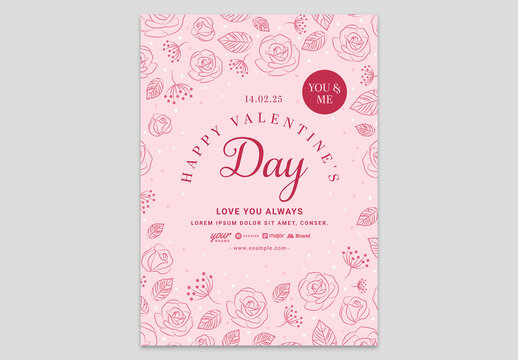 Pink Valentines Day Card Layout Invite with Elegant Rose Illustrations