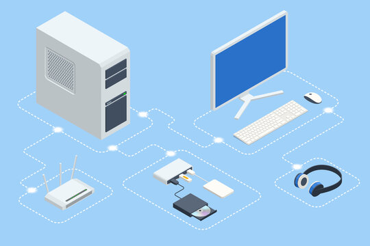 Isometric digital devices. Home computer network. Home wifi network. Internet via router on computer. Computer and peripherals, multimedia, home office stuff