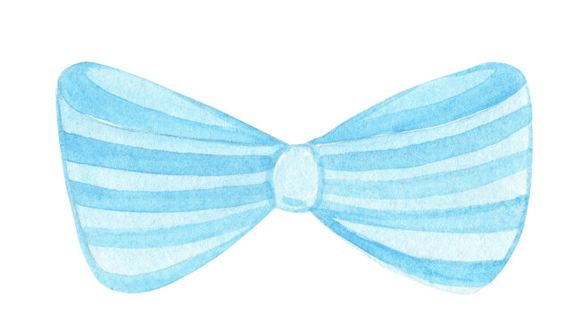 watercolor hand drawn blue bow with stripes isolated on white background