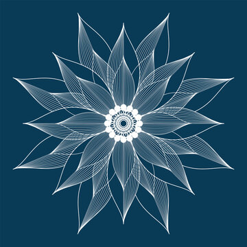 Vector contouring flower. Linear drawing. White element on blue background.
