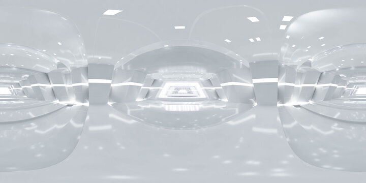 360 degree panorama of abstract white technology design modern futuristic architecture building hallway 3d render illustration