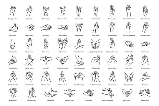 Mudras icon set. Hand spirituality hindu yoga of fingers gesture. Technique of meditation for mental health.