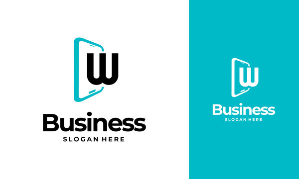 W-Initial Phone Logo designs, Phone Shop logo designs, Modern Phone logo designs vector icon