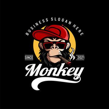 Monkey mascot logo vector. Animal vector illustration. Geek monkey logo. Chimpanzee vector logo design