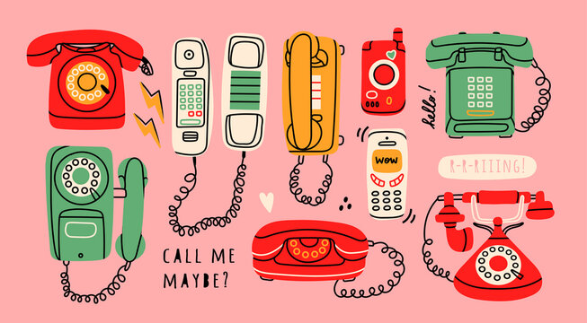 Set of Various classic and modern telephones. Wire, cell and mobile  phones. Retro vintage style icons. Hand drawn Vector illustration. All elements are isolated