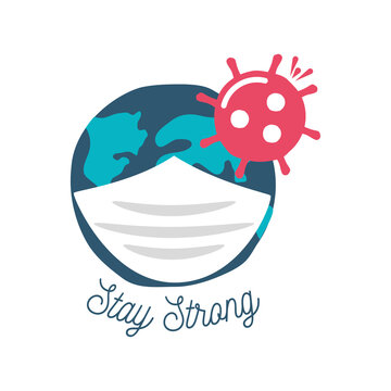 covid 19 virus sticker of stay strong and world with mask vector design