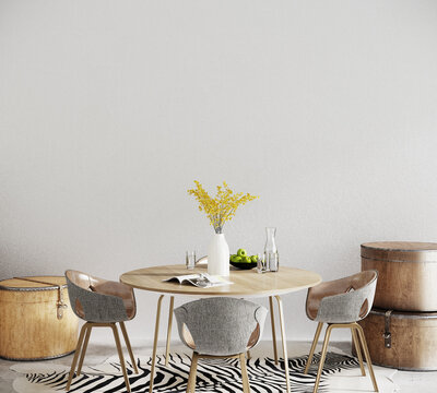 dining table in front of the white wall, 3d render
