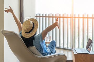 Life balance and summer holiday vacation concept with happy woman taking a break, celebrating...