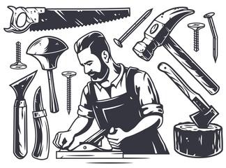 Fototapeta Set of carpentry chisel tools, wood jointer, saw and hammer. Diy workshop kit for carpenter or timber obraz