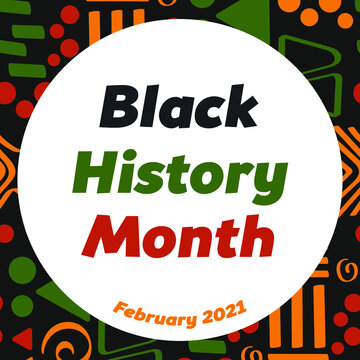 Black History Month - annual African American heritage celebration in USA, Canada February 2021. Vector tribal doodle ornament in African colors - red, green, yellow.  Greeting card, template, banner