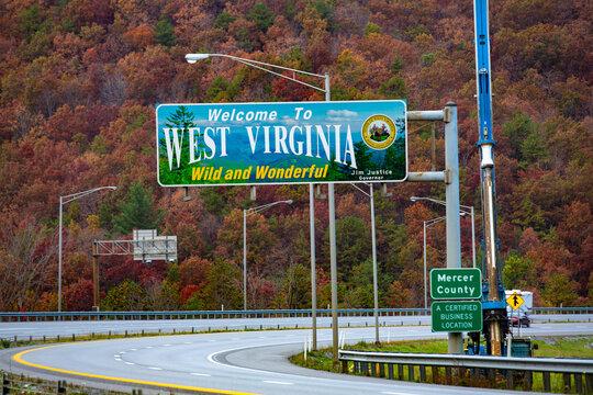 West Virginia Highway Welcome Sign