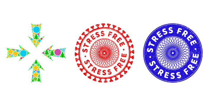 Reduce arrows composition of New Year symbols, such as stars, fir-trees, color round items, and STRESS FREE textured seals. Vector STRESS FREE seals uses guilloche pattern,