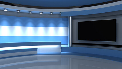 Obraz TV studio. Argentina. Argentine flag. News studio. Loop animation. Background for any green screen or chroma key video production. 3d render. 3d - fototapety do salonu
