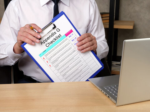 Business concept about Appendix G Checklist with inscription on the sheet.
