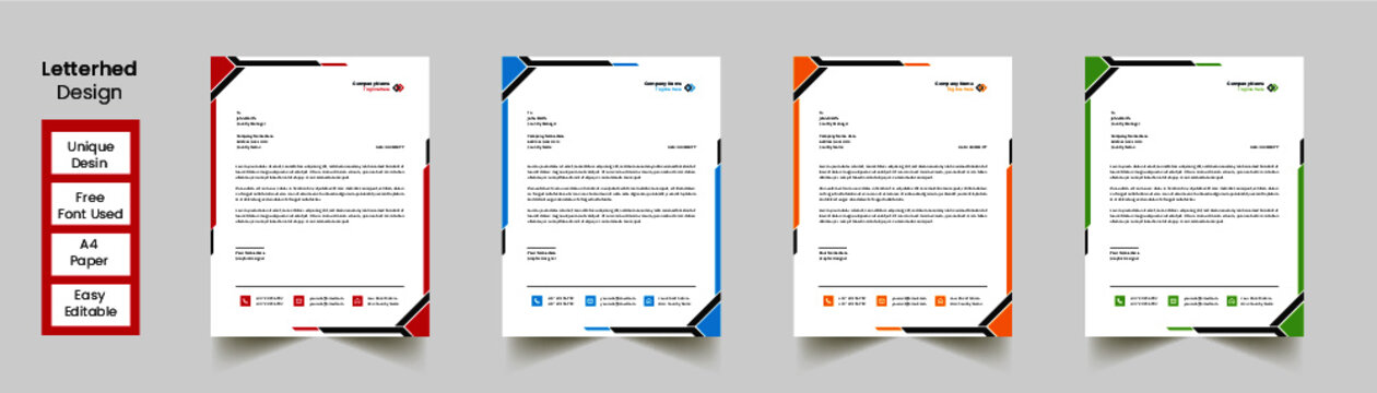 Modern Abstract Creative Professional green letterhead with 3 color
