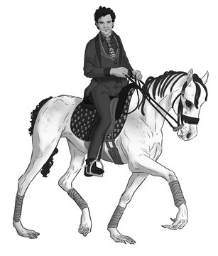 Grayscale digital illustration of a man wearing suit and tie and riding a monster horse