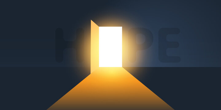 Dark Room, Light Coming In Through an Open Door - New Possibilities, Hope, Overcome Problems, Solution Finding Concept