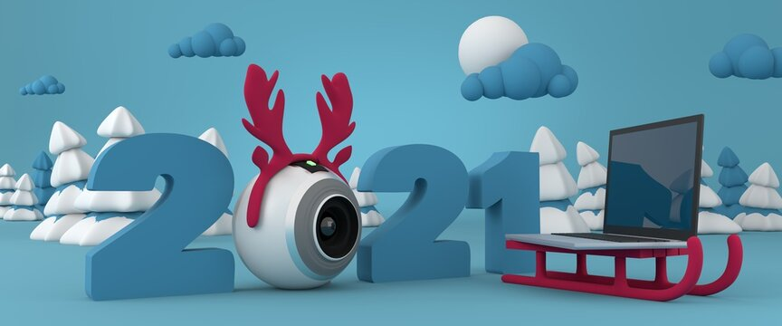 Celebrating the new year online, online party in 2021, video call concept, minimal cartoon style scene