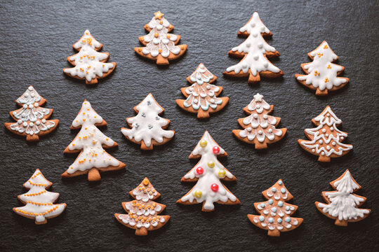 Homemade christmas cookies on slate table