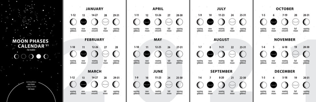 Moon phases calendar 2021. Waning gibbous, Waxing crescent, New moon, Full moon with dates.