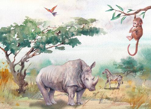 Watercolor Africa landscape with wild animals. Hand painted nature view and rhino, chimp, zebra. Beautiful safari scene